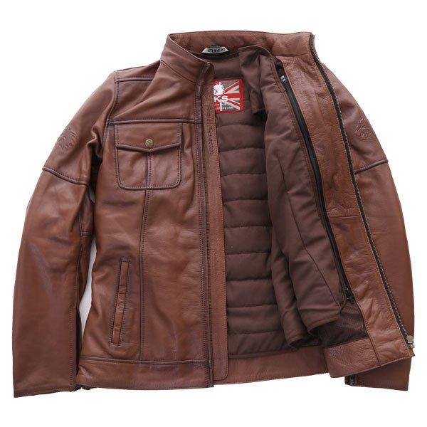 BKS Brandy Ladies Brown Leather Motorcycle Jacket Inside