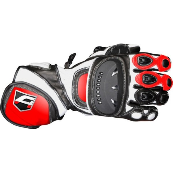 Akito Sport Max Black Red White Motorcycle Gloves Back