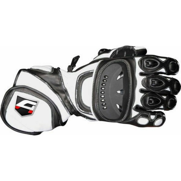 Akito Sport Max Black White Motorcycle Gloves Back