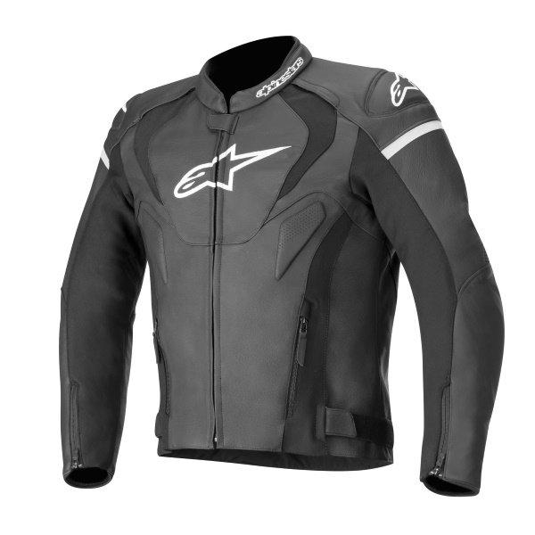 Alpinestars Jaws V3 Black Leather Motorcycle Jacket Front