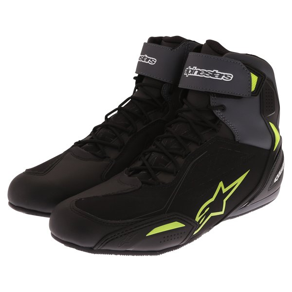 Alpinestars Faster-3 Drystars Pair Black Grey Yellow Fluo Motorcycle Shoes