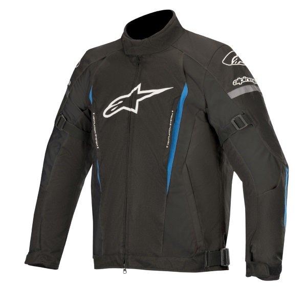 Alpinestars Gunner V2 Black Bright Blue Waterproof Textile Motorcycle Jacket Front
