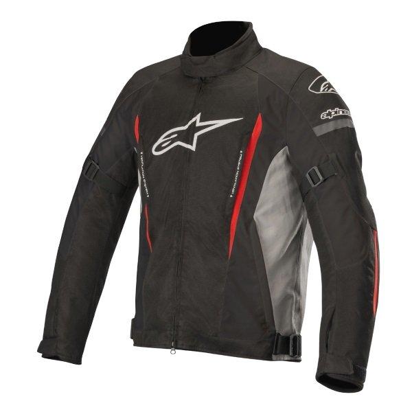 Alpinestars Gunner V2 Black Grey Red Waterproof Textile Motorcycle Jacket Front