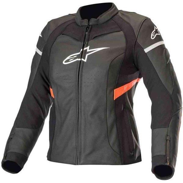 Alpinestars Stella Kira Ladies Black Red Fluo Leather Motorcycle Jacket Front