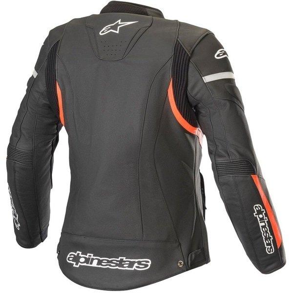 Alpinestars Stella Kira Ladies Black Red Fluo Leather Motorcycle Jacket Back