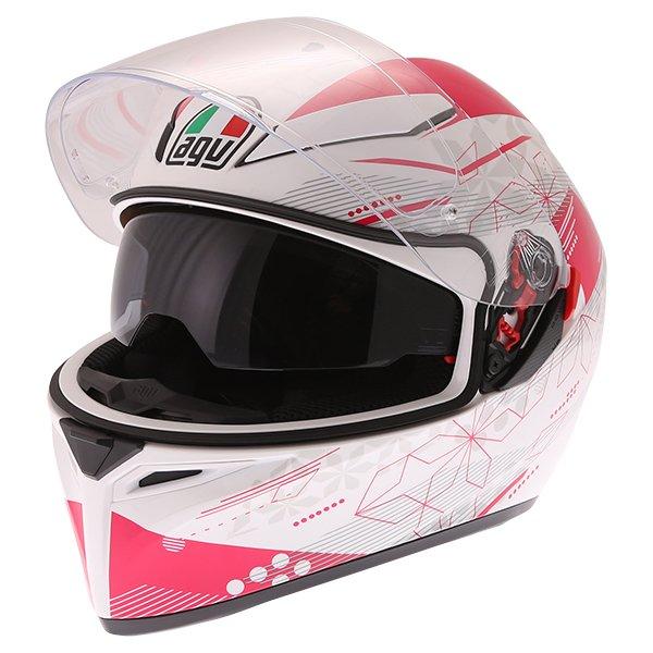 AGV K3 SV Izumi White Pink Full Face Motorcycle Helmet Open With Sun Visor