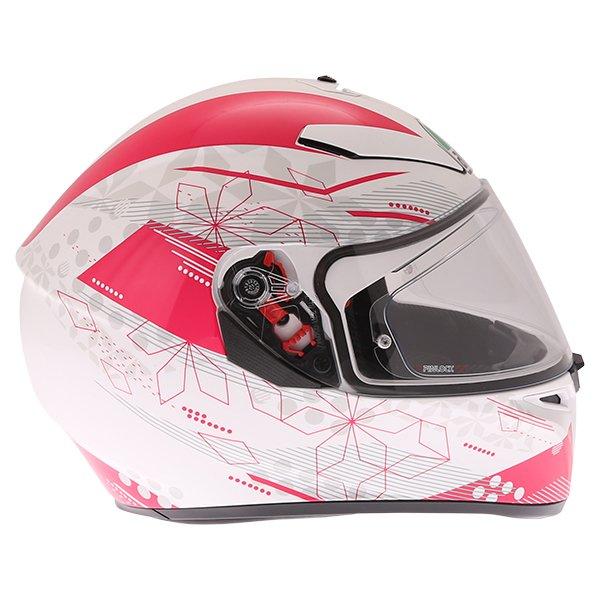 AGV K3 SV Izumi White Pink Full Face Motorcycle Helmet Right Side