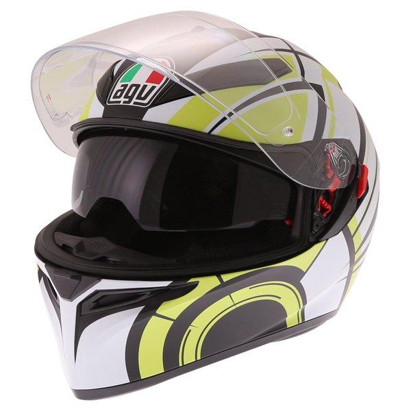 AGV K3 SV Avior Green Full Face Motorcycle Helmet Open With Sun Visor