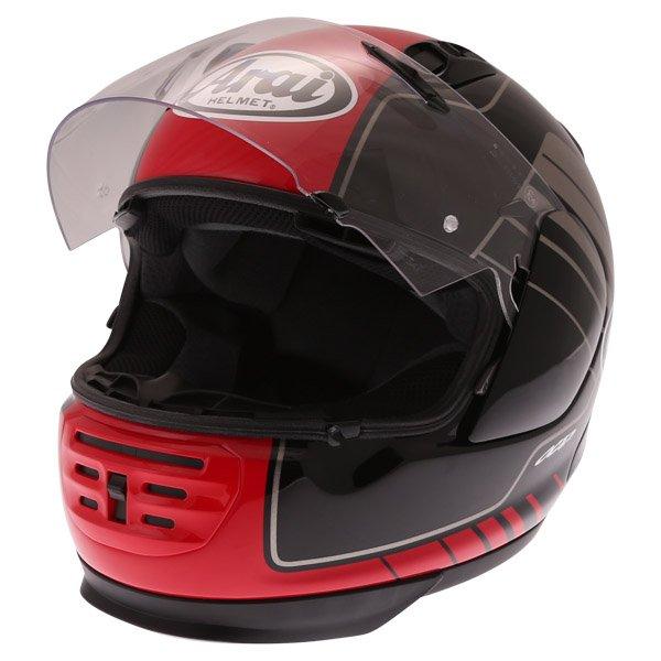 Arai Rebel Street Red Full Face Motorcycle Helmet Open Visor