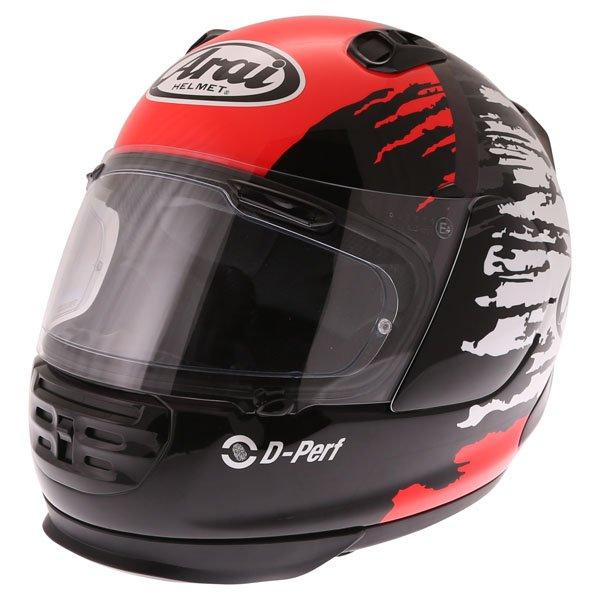 Arai Rebel Splash Red Full Face Motorcycle Helmet Front Left