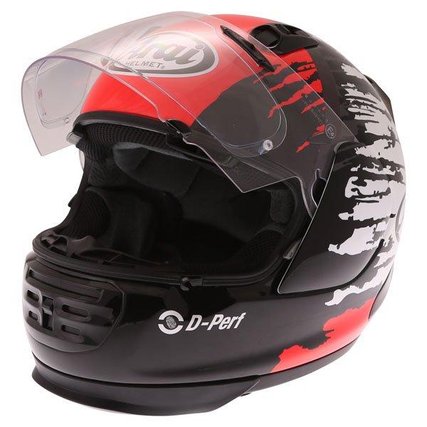 Arai Rebel Splash Red Full Face Motorcycle Helmet Open Visor