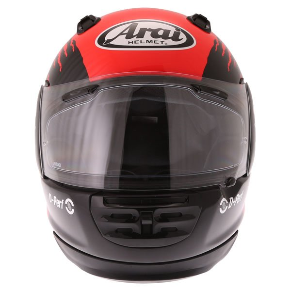 Arai Rebel Splash Red Full Face Motorcycle Helmet Front