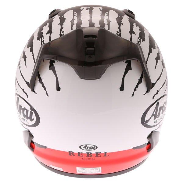 Arai Rebel Splash Red Full Face Motorcycle Helmet Back