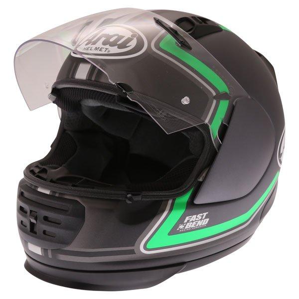 Arai Rebel Trophy Green Full Face Motorcycle Helmet Open Visor
