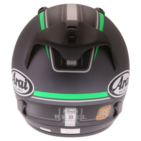 Arai Rebel Trophy Green Full Face Motorcycle Helmet Back