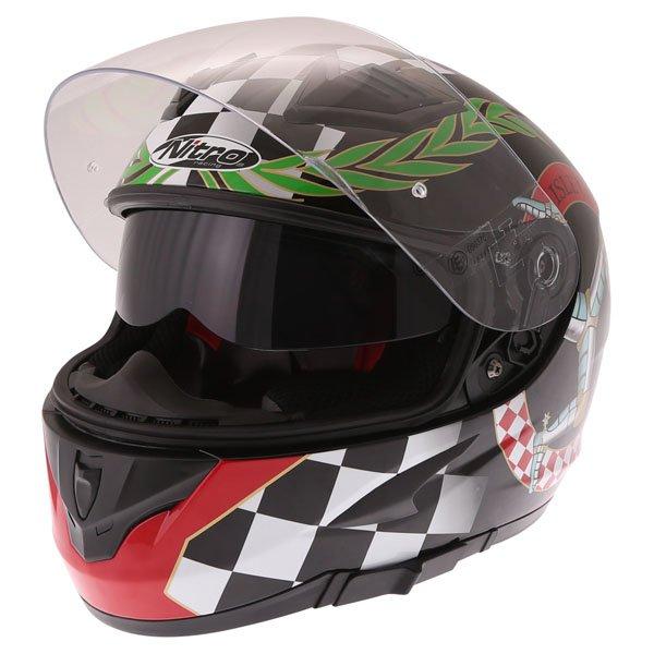 Nitro N2300 Isle of Man Full Face Motorcycle Helmet Open With Sun Visor