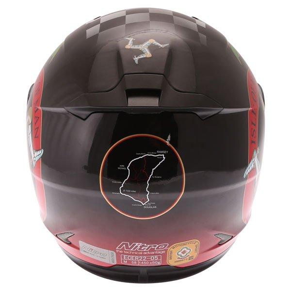 Nitro N2300 Isle of Man Full Face Motorcycle Helmet Back