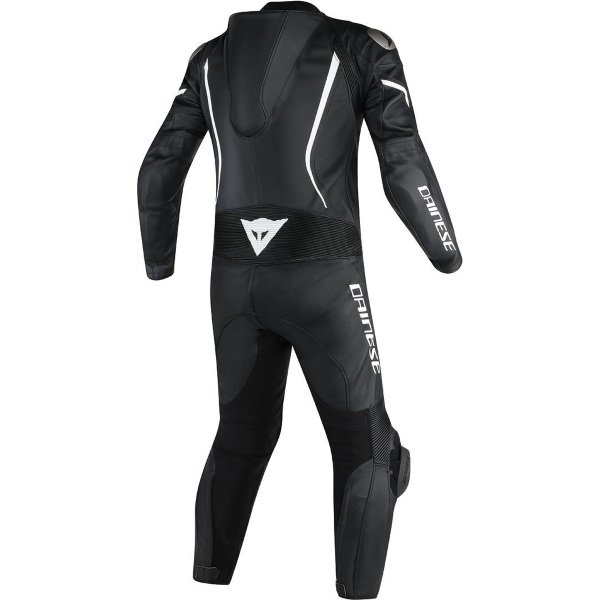 Dainese Assen Black Black White Leather Motorcycle 1-Piece Suits Rear