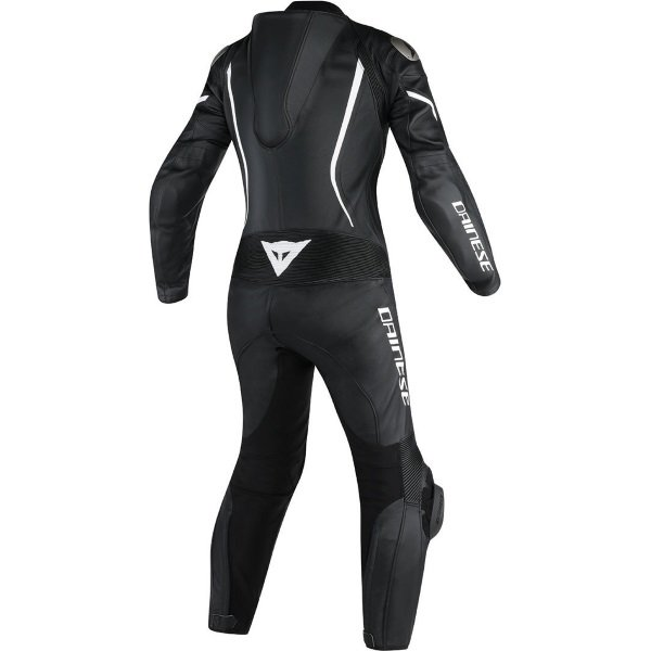 Dainese Assen Lady Womens Black Black White Leather Motorcycle 1-Piece Suits Rear