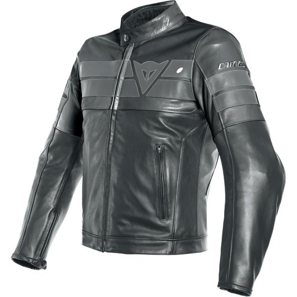 Dainese 8-Track Black Leather Motorcycle Jacket Front