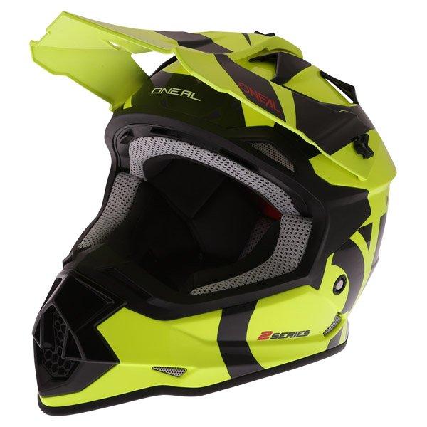 2 Series RL Slick Helmet Neon Yellow Black Discount Motorcycle Gear