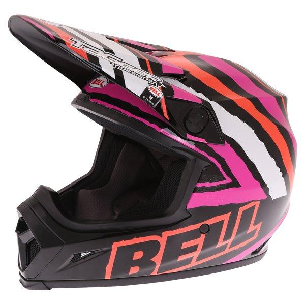 Bell MX-9 Tagger Scrub Pink Motocross Helmet Front Left