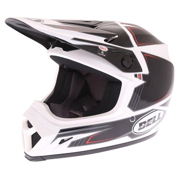 Bell MX-9 Blockade Black White Motocross Helmet Front Left