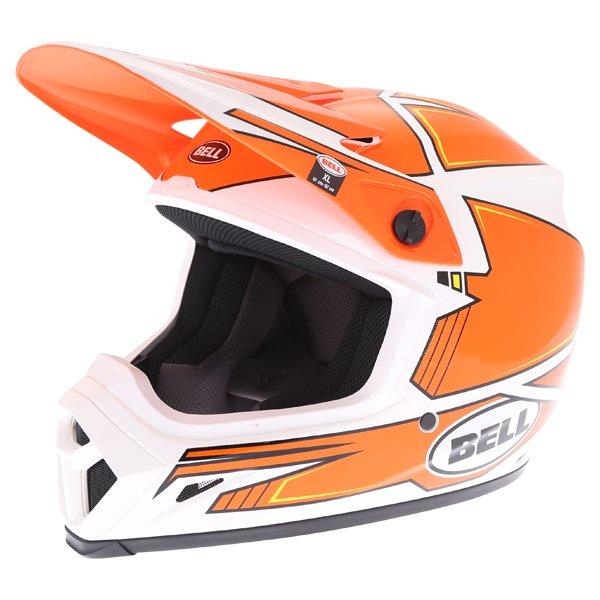 Bell MX-9 Blockade Orange White Motocross Helmet Front Left