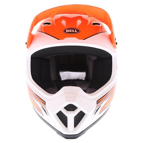 Bell MX-9 Blockade Orange White Motocross Helmet Front