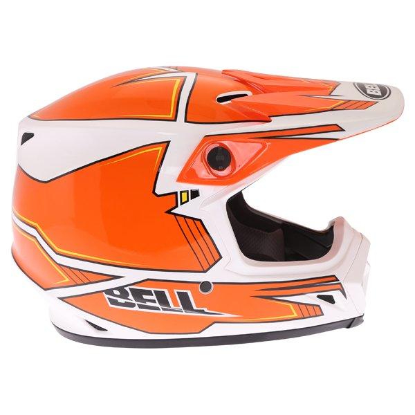 Bell MX-9 Blockade Orange White Motocross Helmet Right Side