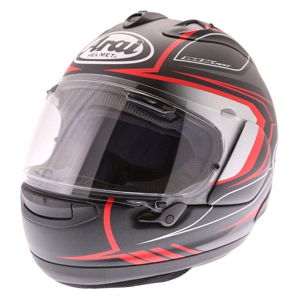 Arai RX-7V Maze Matt Black Red Full Face Motorcycle Helmet Front Left
