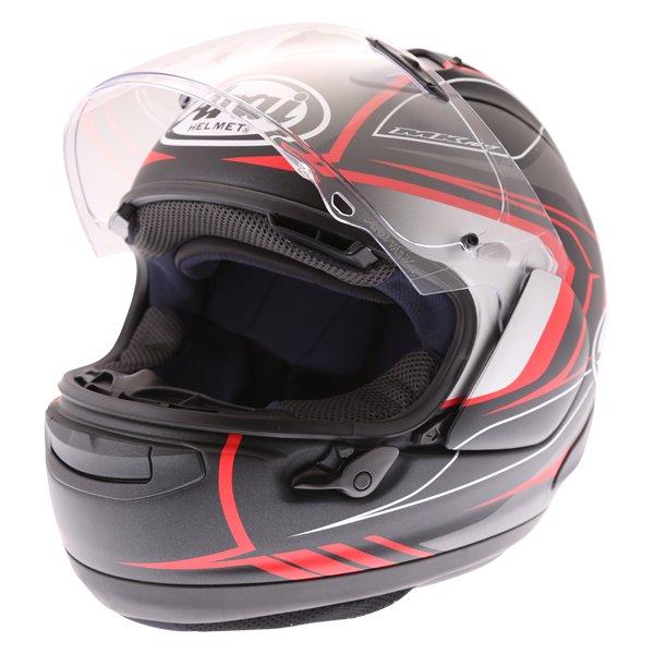Arai RX-7V Maze Matt Black Red Full Face Motorcycle Helmet Open With Sun Visor