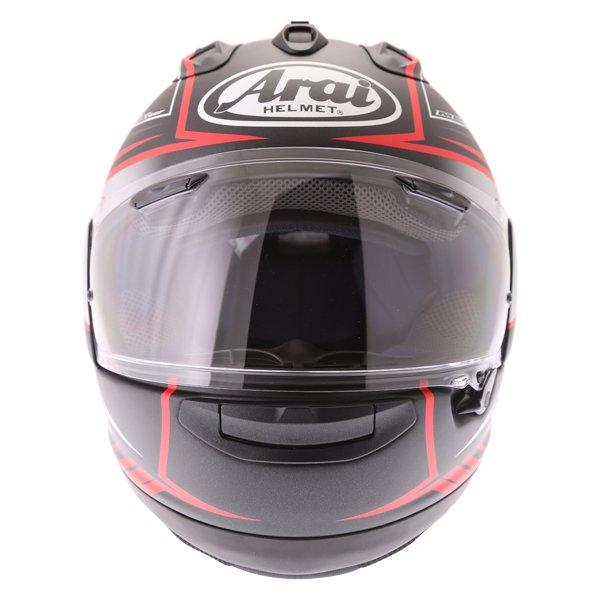 Arai RX-7V Maze Matt Black Red Full Face Motorcycle Helmet Front