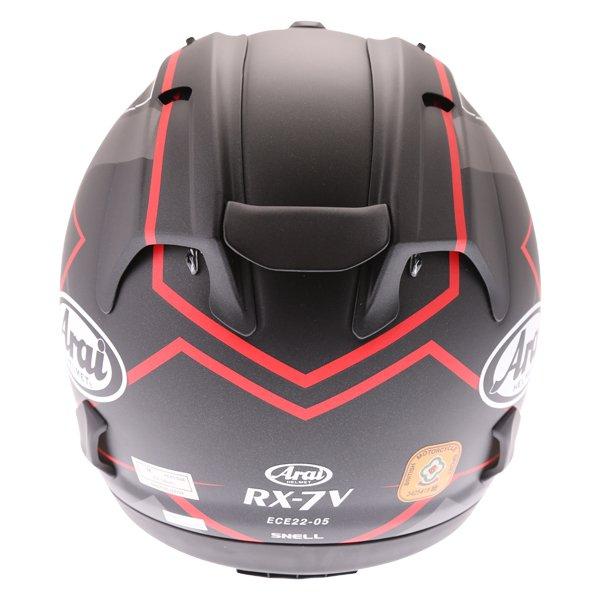 Arai RX-7V Maze Matt Black Red Full Face Motorcycle Helmet Back