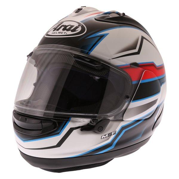 Arai RX-7V Scope White Black Red Full Face Motorcycle Helmet Front Left