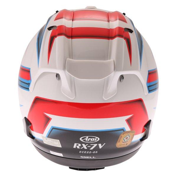 Arai RX-7V Scope White Black Red Full Face Motorcycle Helmet Back