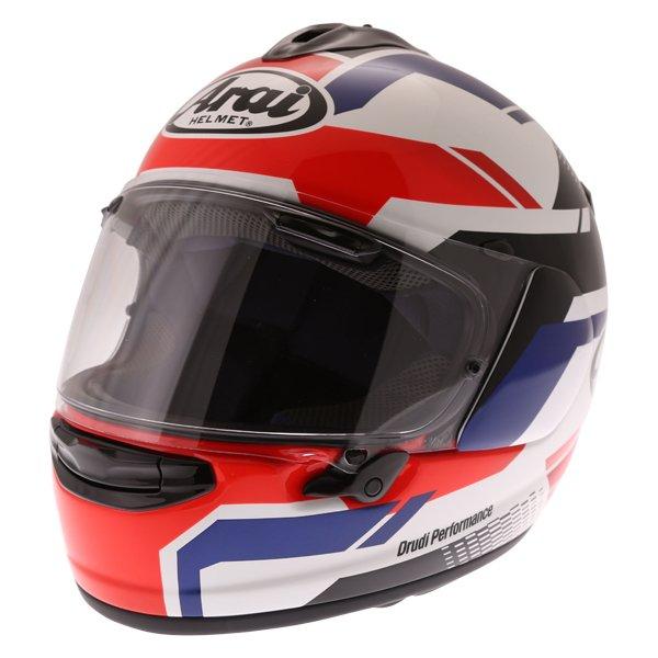 Arai Chaser X Cliff Red White Blue Full Face Motorcycle Helmet Front Left