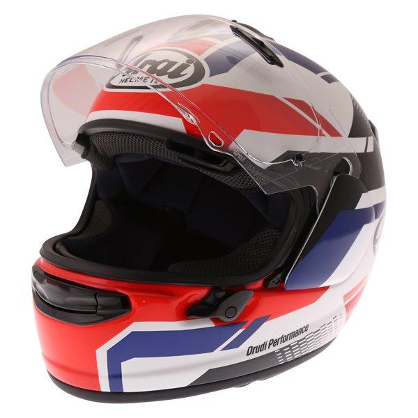 Arai Chaser X Cliff Red White Blue Full Face Motorcycle Helmet Open Visor