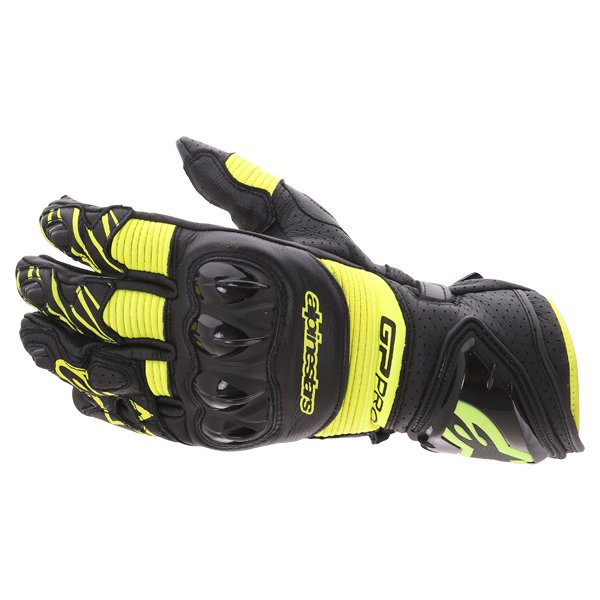 Alpinestars GP Pro R3 Black Yellow Fluo Motorcycle Gloves Back
