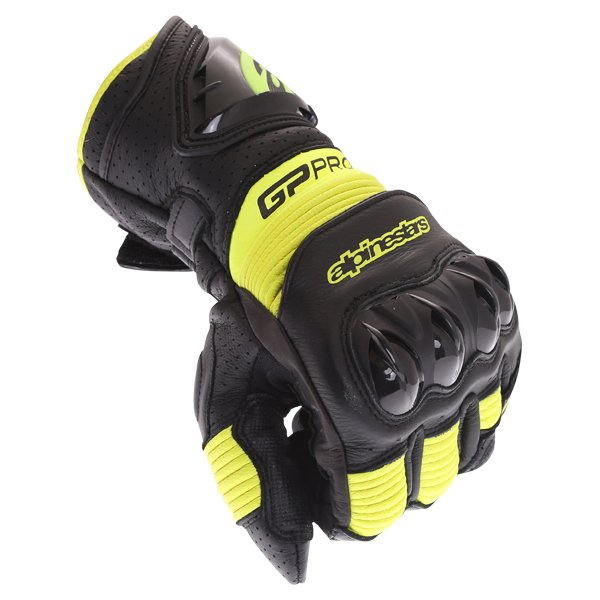 Alpinestars GP Pro R3 Black Yellow Fluo Motorcycle Gloves Knuckle