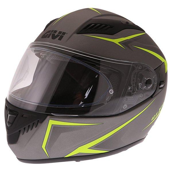 Givi 40.5 X-Fiber Silver Yellow Full Face Motorcycle Helmet Front Left