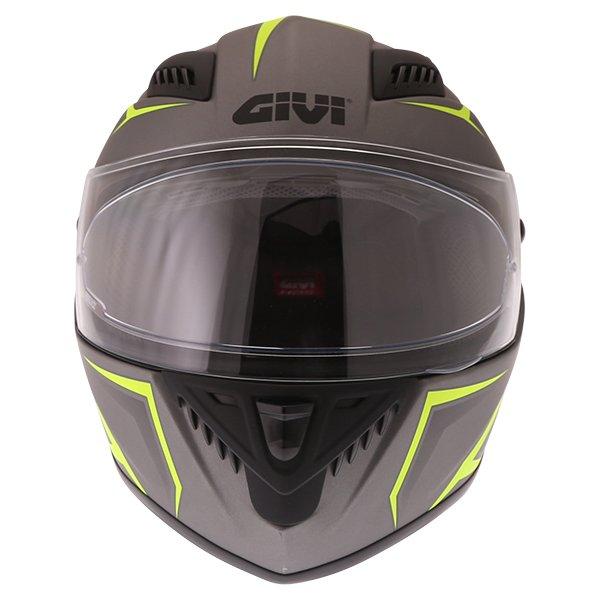 Givi 40.5 X-Fiber Silver Yellow Full Face Motorcycle Helmet Front