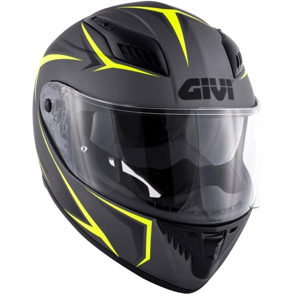 Givi 40.5 X-Fiber Silver Yellow Full Face Motorcycle Helmet Front Right