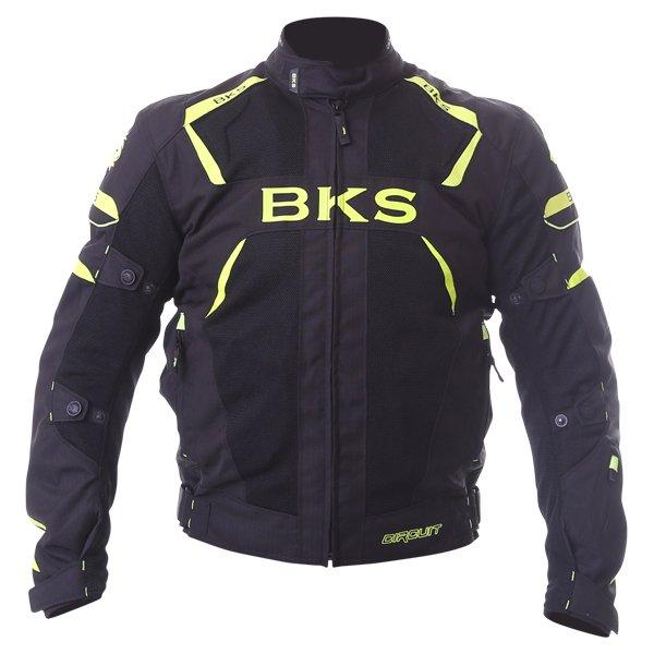 BKS Circuit Mesh Black Yellow Waterproof Textile Motorcycle Jacket Front