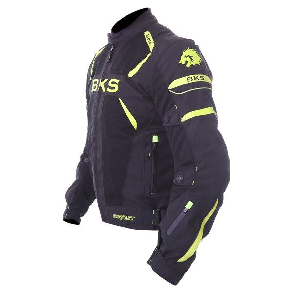 BKS Circuit Mesh Black Yellow Waterproof Textile Motorcycle Jacket Side