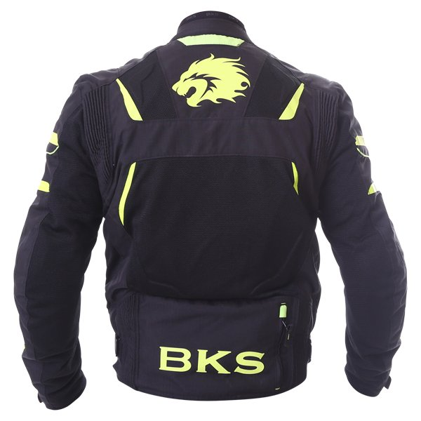 BKS Circuit Mesh Black Yellow Waterproof Textile Motorcycle Jacket Back