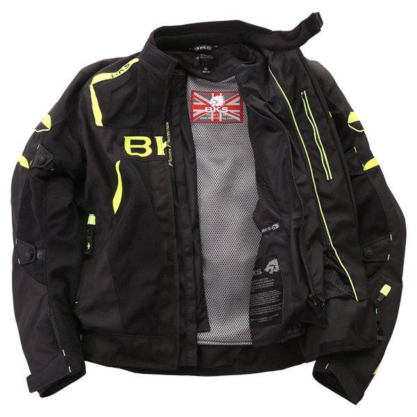 BKS Circuit Mesh Black Yellow Waterproof Textile Motorcycle Jacket Inside