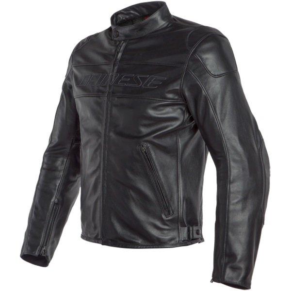 Dainese Bardo Black Leather Motorcycle Jacket Black Front