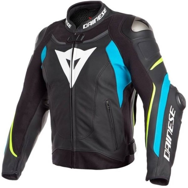Dainese Super Speed 3 Black Blue Yellow Leather Motorcycle Jacket Front