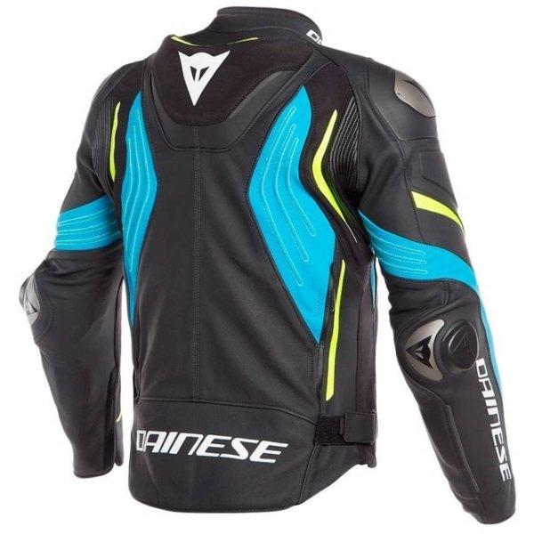 Dainese Super Speed 3 Black Blue Yellow Leather Motorcycle Jacket Back